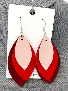 RED LAYERED LEATHER DROP EARRINGS by Corso Custom Jewelry