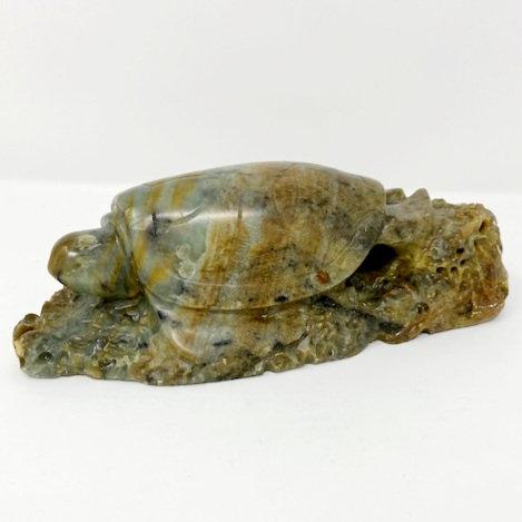 GREEN SEA TURTLE SOAP STONE CARVING by Louise Fedirko