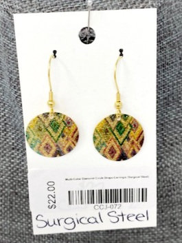 MULTI-COLOUR DIAMOND CIRCLE DROP EARRINGS by Corso Custom Jewelry