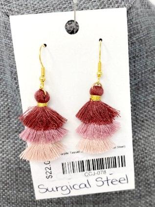 PURPLE TASSEL DROP EARRINGS by Corso Custom Jewelry