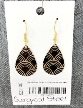 MERMAID SCALE TEAR DROP EARRINGS by Corso Custom Jewelry