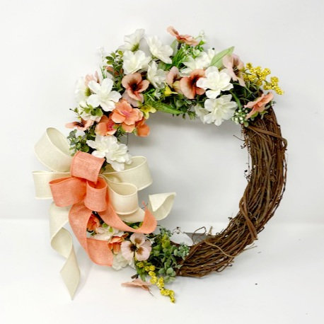 CORAL/WHITE WREATH by Hang It Up Door Decor