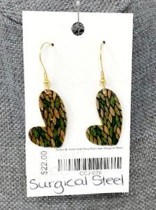 GREEN & GOLD HEART DROP EARRINGS by Corso Custom Jewelry