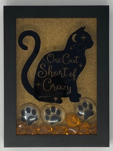 ONE CAT SHORT OF CRAZY SHADOWBOX 5X7