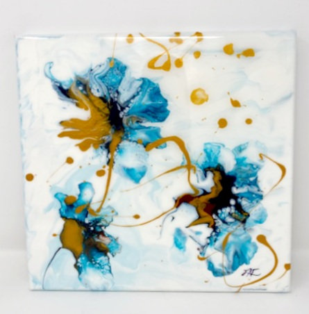 TEAL FLOWERS ACRYLIC POUR PAINTING by Louise Fedirko