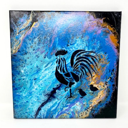 A ROOSTERS UNIVERSE ACRYLIC POUR PAINTING by Louise Fedirko