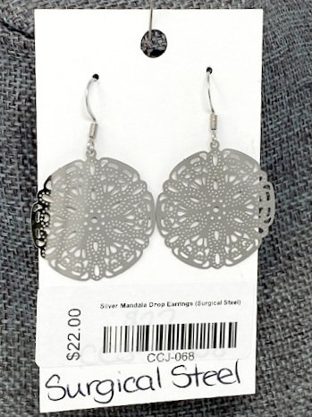 SILVER MANDALA DROP EARRINGS by Corso Custom Jewelry