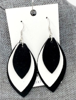 BLACK & WHITE LAYERED LEATHER DROP EARRINGS by Corso Custom Jewelry