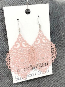 SPARKLY PINK SPINDLE DROP EARRINGS by Corso Custom Jewelry
