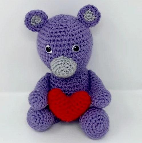 PURPLE BEAR STUFFY by TFD Handmade