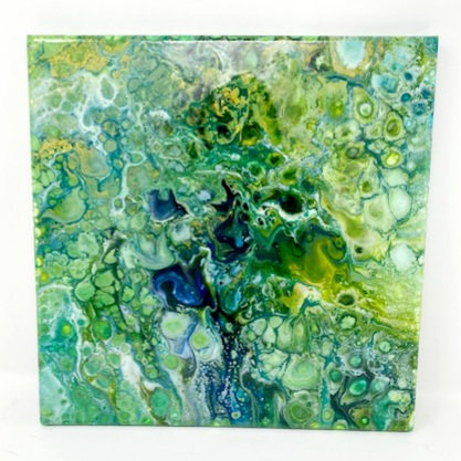 GREEN NOSES ACRYLIC POUR PAINTING by Louise Fedirko