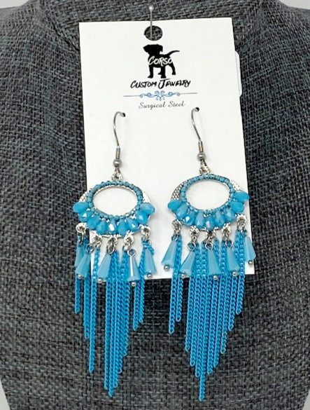 BABY BLUE BEADED DROP EARRINGS by Corso Custom Jewelry