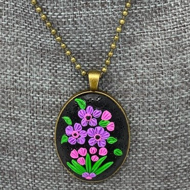 PURPLE FLOWER PENDANT NECKLACE by Sweet Charmed Life