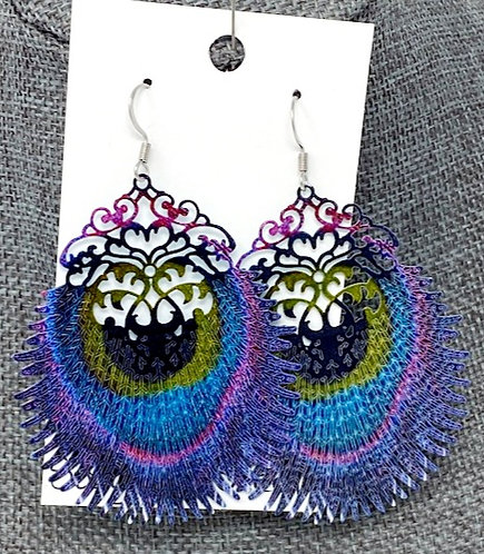 MULTI-COLOUR PEACOCK FEATHER DROP EARRINGS by Corso Custom Jewelry