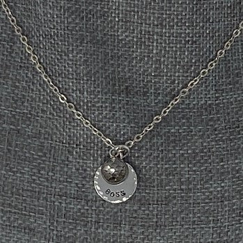 STAMPED NECKLACE WITH CHARM by Jewelry By Nikk
