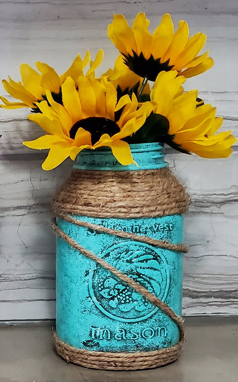 MASON VASE (TEAL/YELLOW) by Sweet Ivy Jewelry
