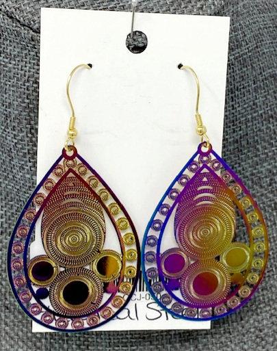 RAINBOW TEAR DROP EARRINGS by Corso Custom Jewelry