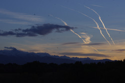Evening vapour trails