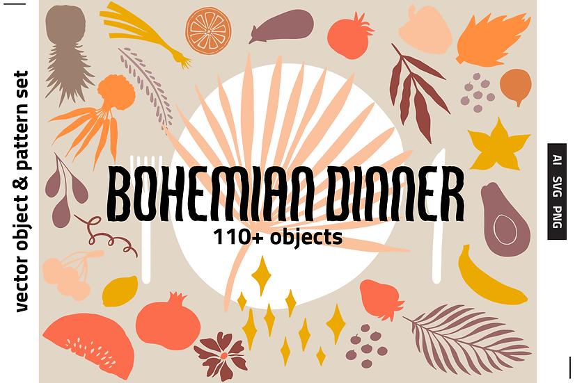 Bohemian Dinner Vector Set