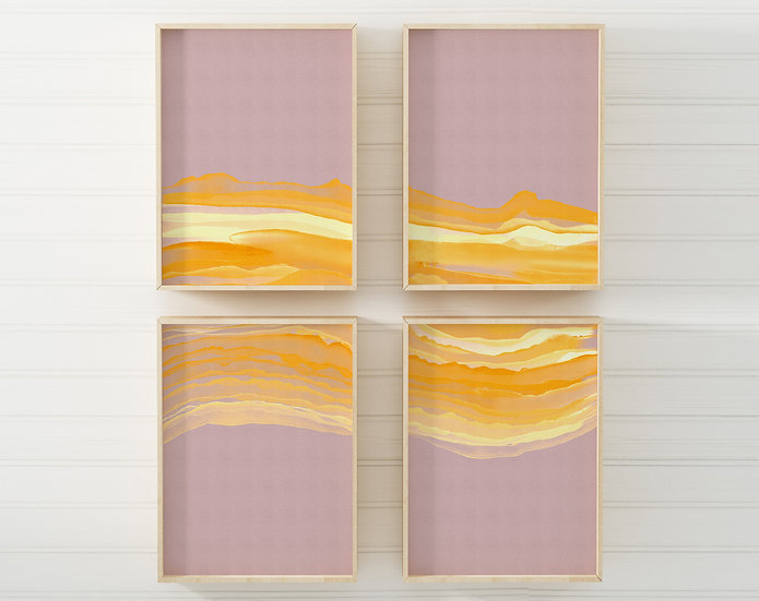 Mellow Landscape Printable Gallery Wall   Set of 4   DIY Downloads