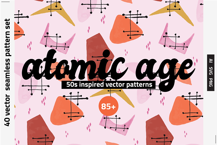 Atomic Age Watercolor Patterns