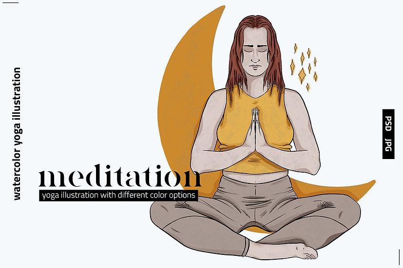 Meditation Watercolor Illustration