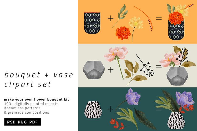 Bouquet & Vases Clipart Set