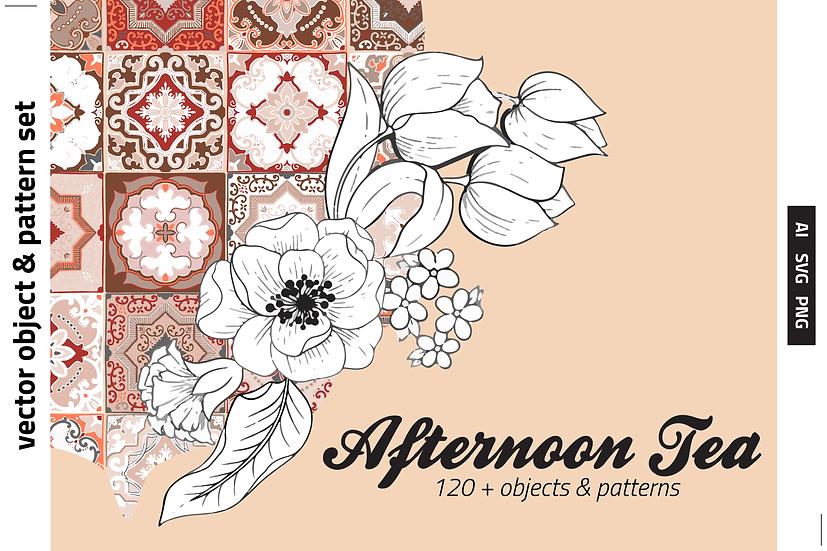 Afternoon Tea Floral&Tile Vector Set