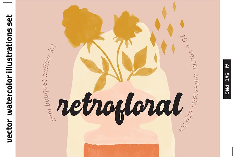 Retrofloral Watercolor Vector Set