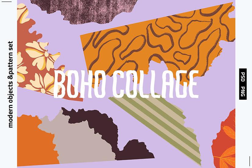 Boho Collage Object & Pattern Set