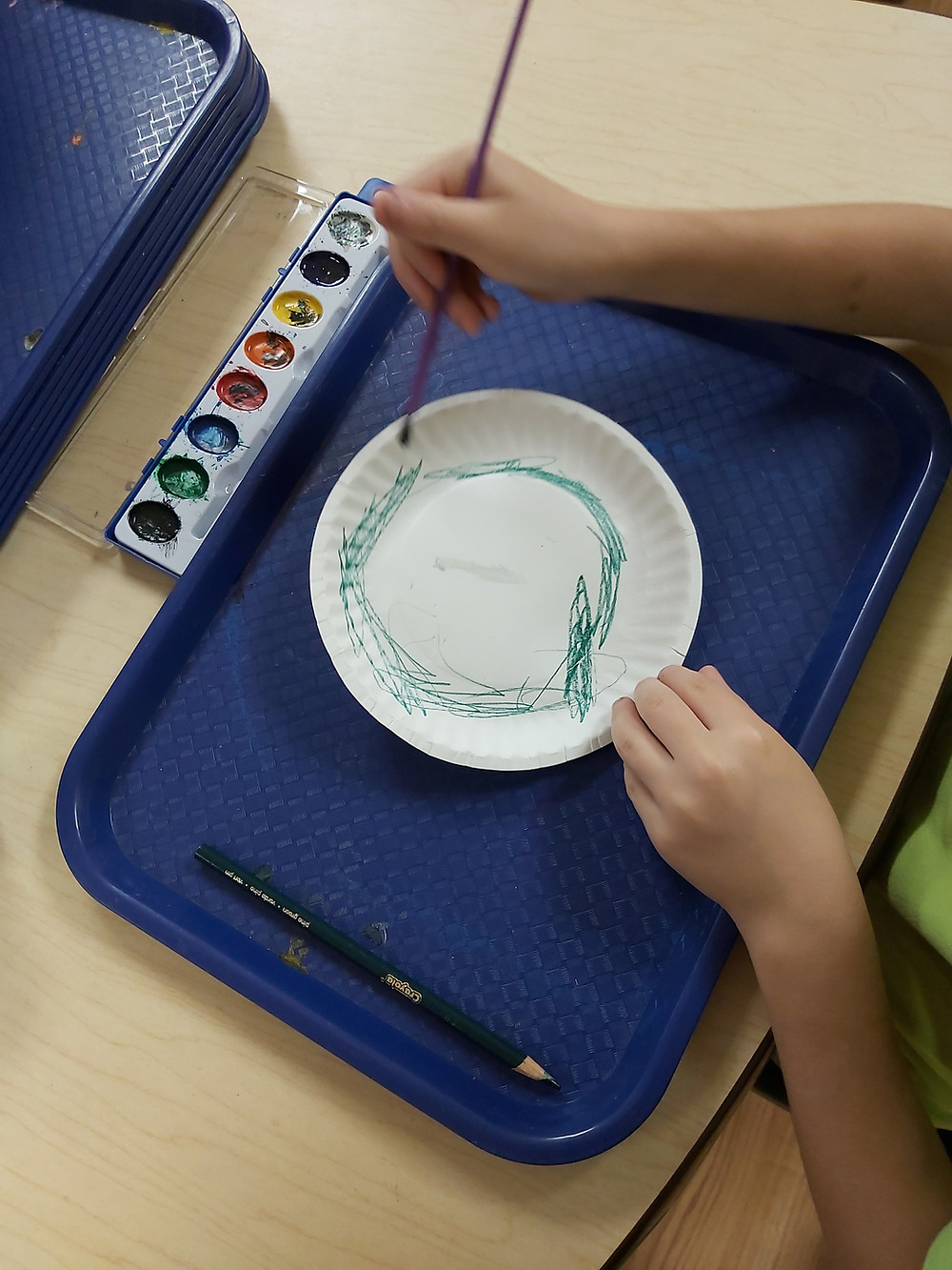 preschool painting on a paper plate