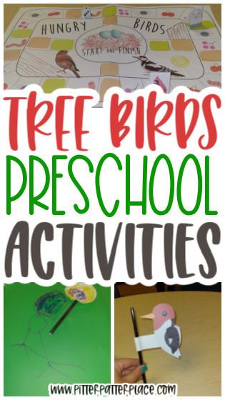 collage of preschool bird activities with text: Tree Bird Preschool Activities