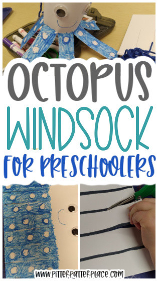 collage of octopus craft images with text: Octopus Windsock for Preschoolers