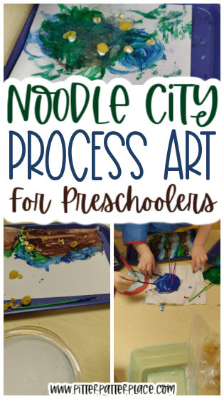 collage of noodle craft images with text: Noodle City Process Art for Preschoolers