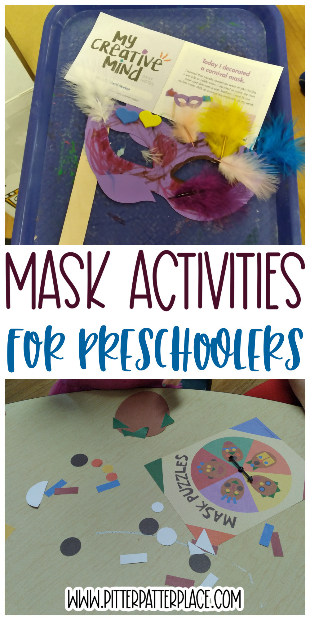 collage of mask activity photos with text: Mask Activities for Preschoolers