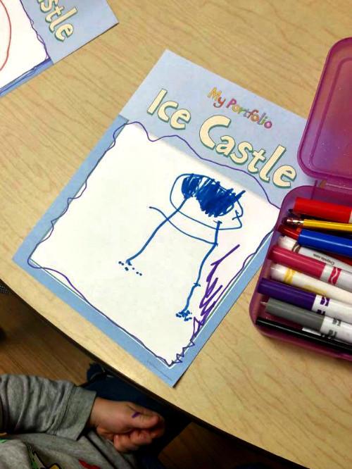 preschooler's portfolio artwork drawn with markers
