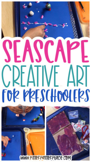 collage of preschool seascape activities with text: Seascape Creative Art for Preschoolers