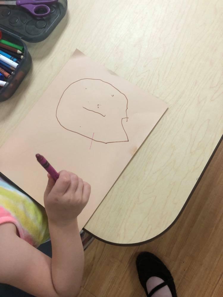 preschooler's hand drawn ostrich