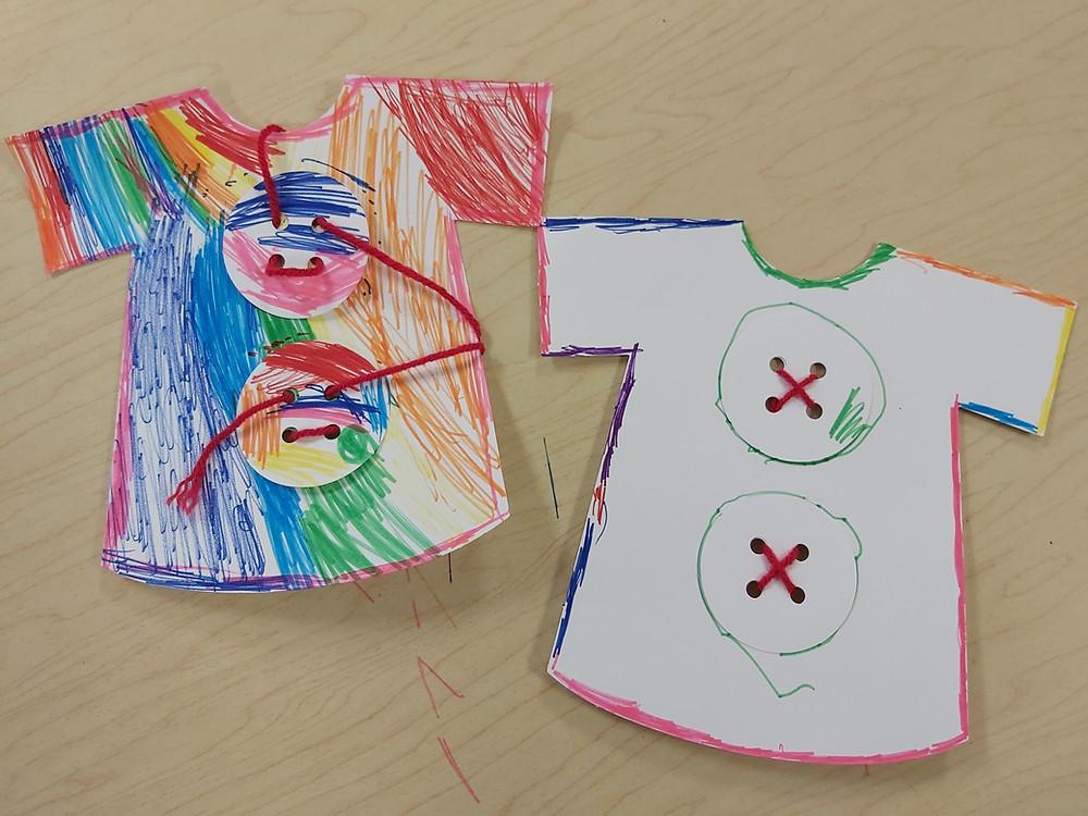 preschoolers' paper t-shirt designs