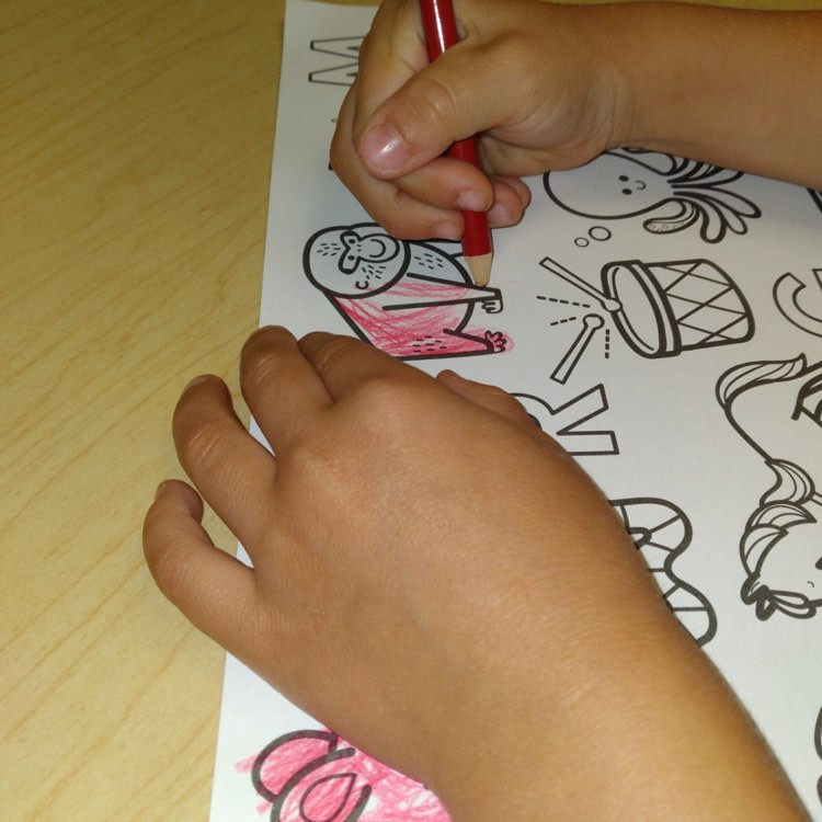 child coloring monkey on letter M coloring page