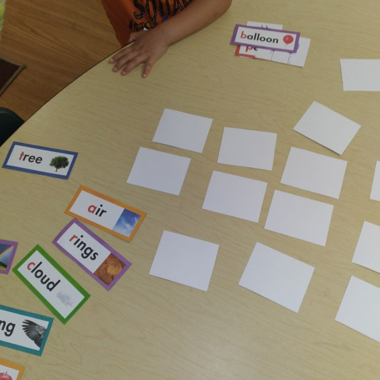 literacy word wall cards on table