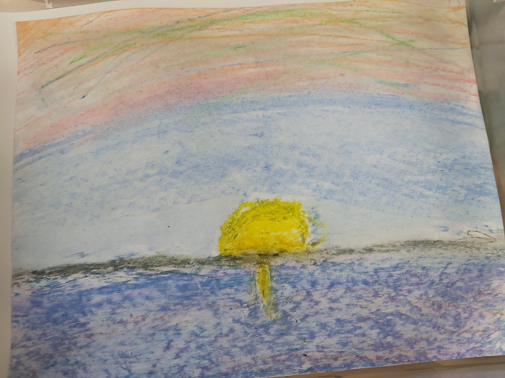 child's oil pastel sunset art