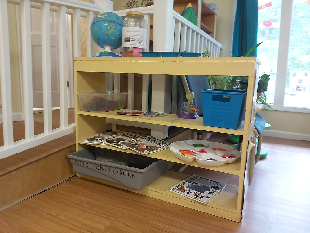 preschool science center with bug specimens, magnets, globe and informational books