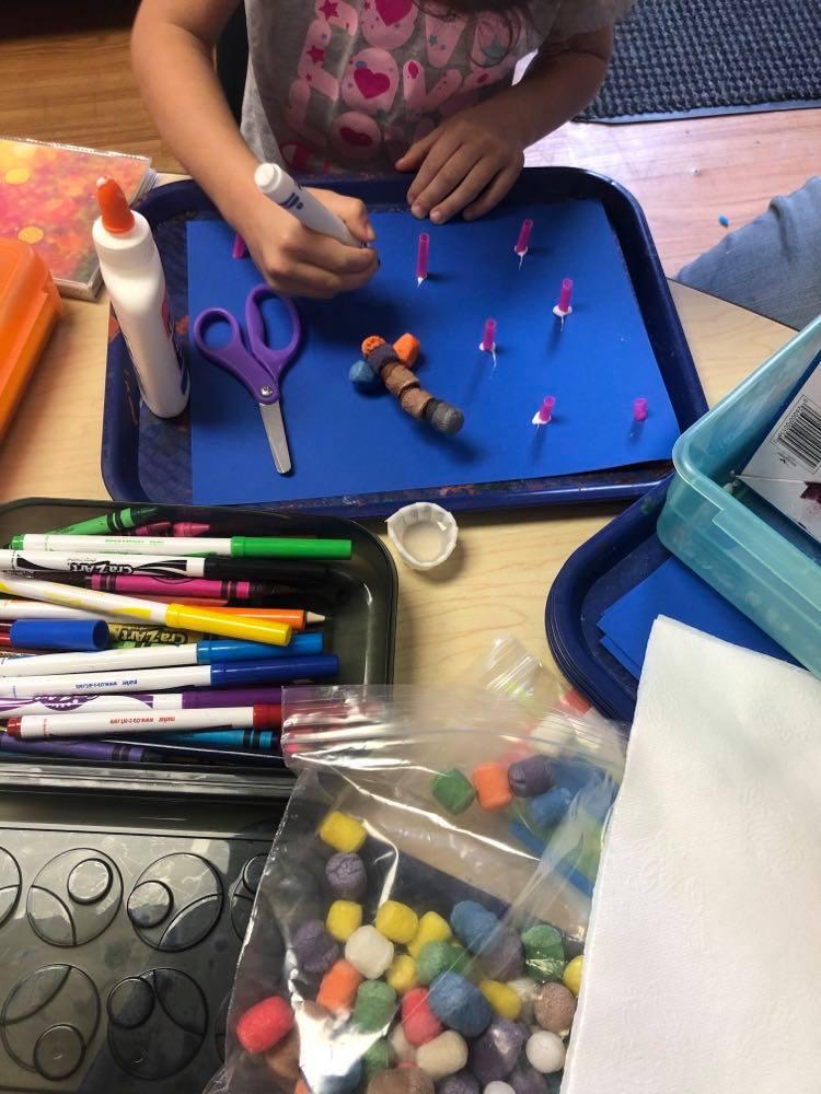 preschoolers coloring coral collage