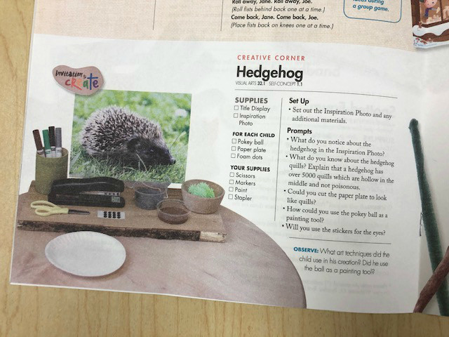 hedgehog painting activity from Teacher Guide