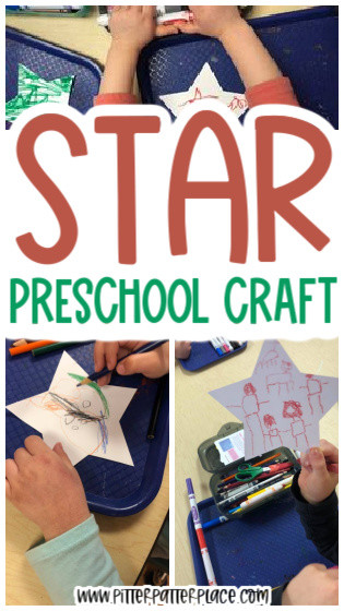 collage of star craft images with text: Star Preschool Craft