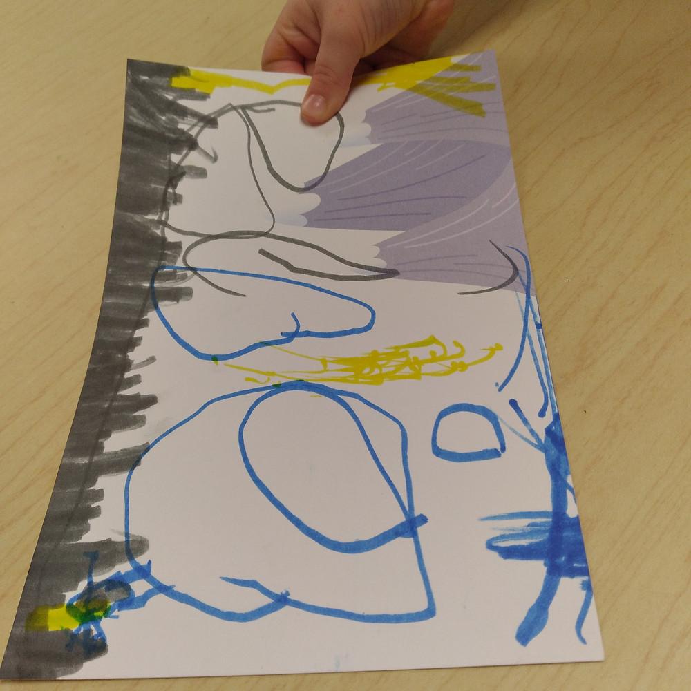 preschooler's finished winter postcard art project