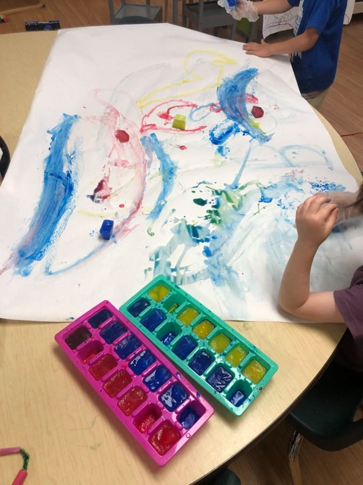 preschool ice painting activity