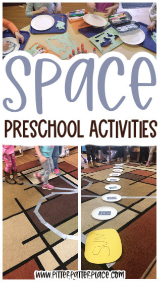 collage of preschool space activities with text: Space Preschool Activities