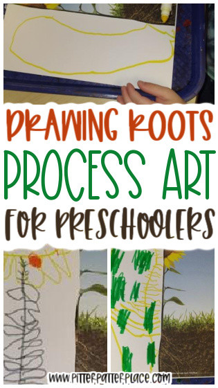 collage of roots art images with text: Drawing Roots Process Art for Preschoolers
